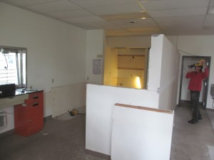 Wall Lowered, Old Counters Removed